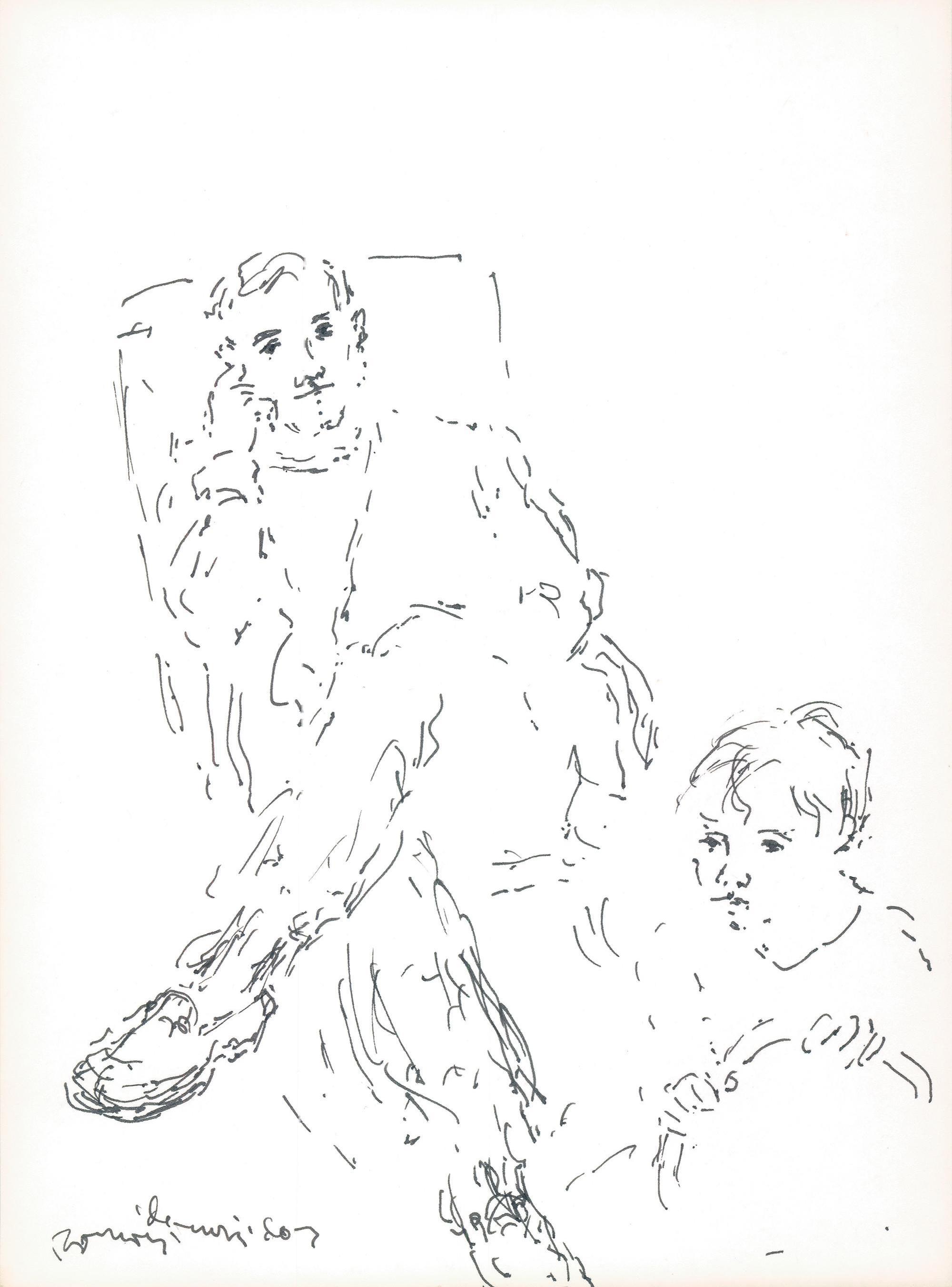 Dibujo Ramón Muriedas y su hijo Ramón.