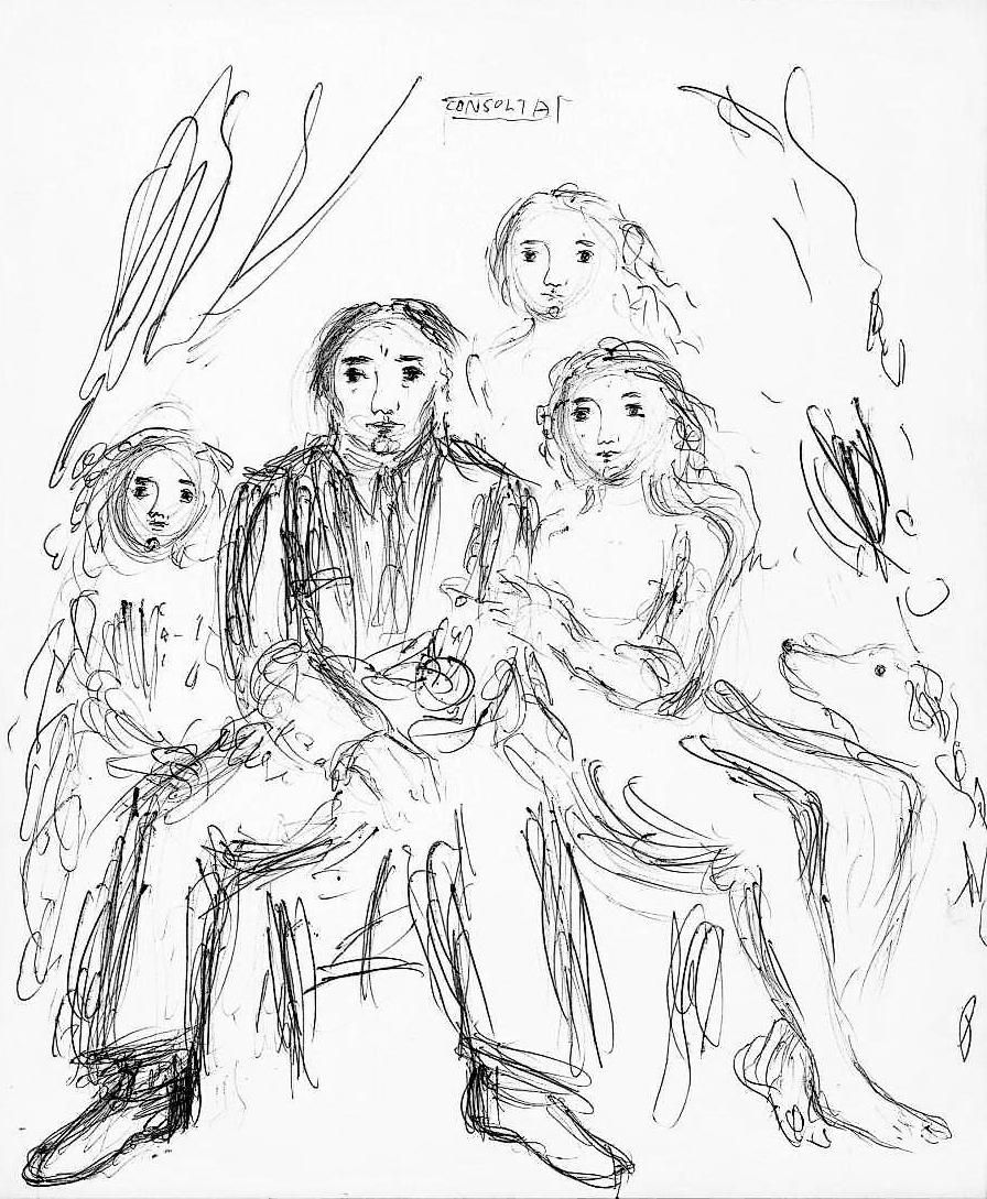 Boceto para Relieve Grupo familiar