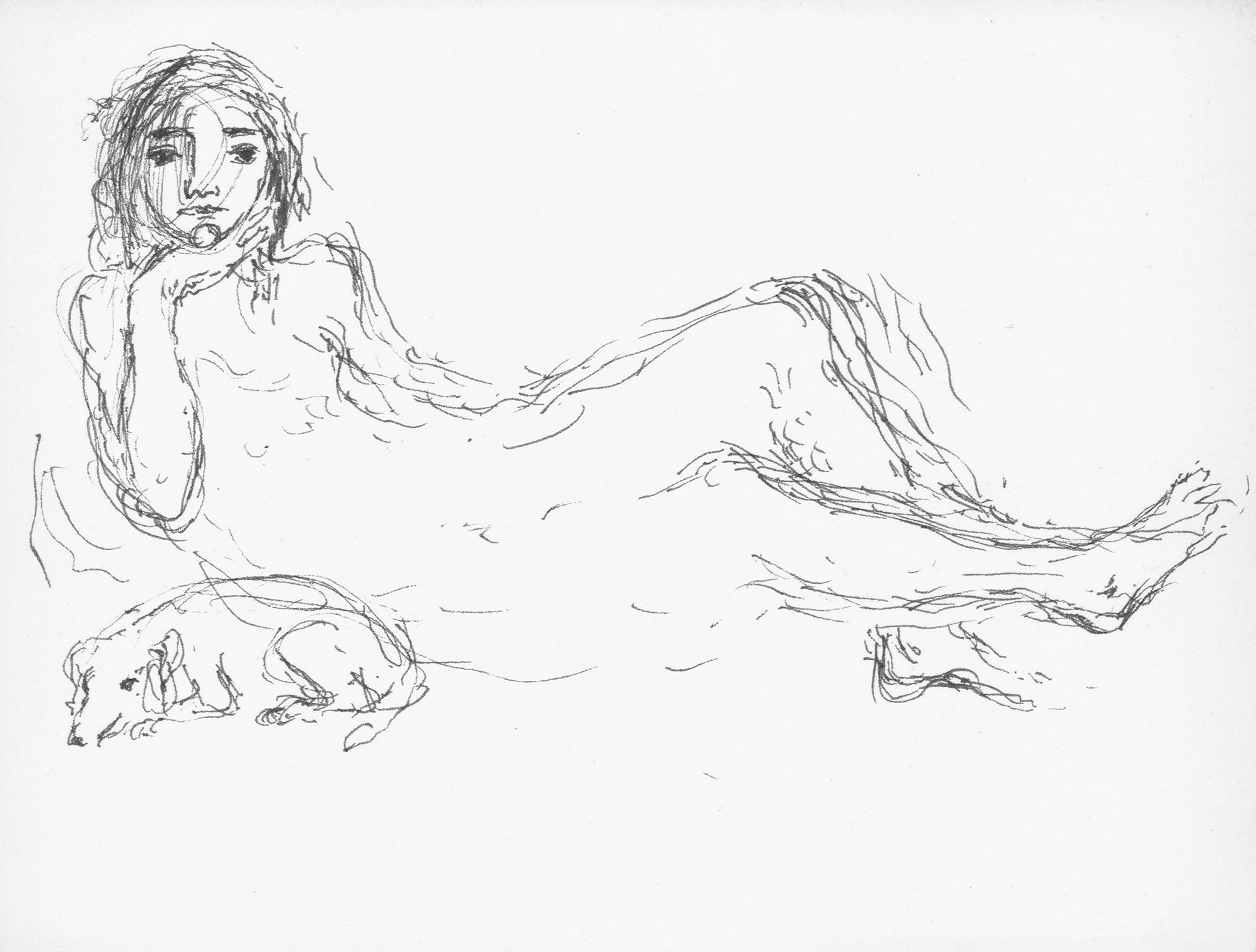 Mujer recostada con perrito