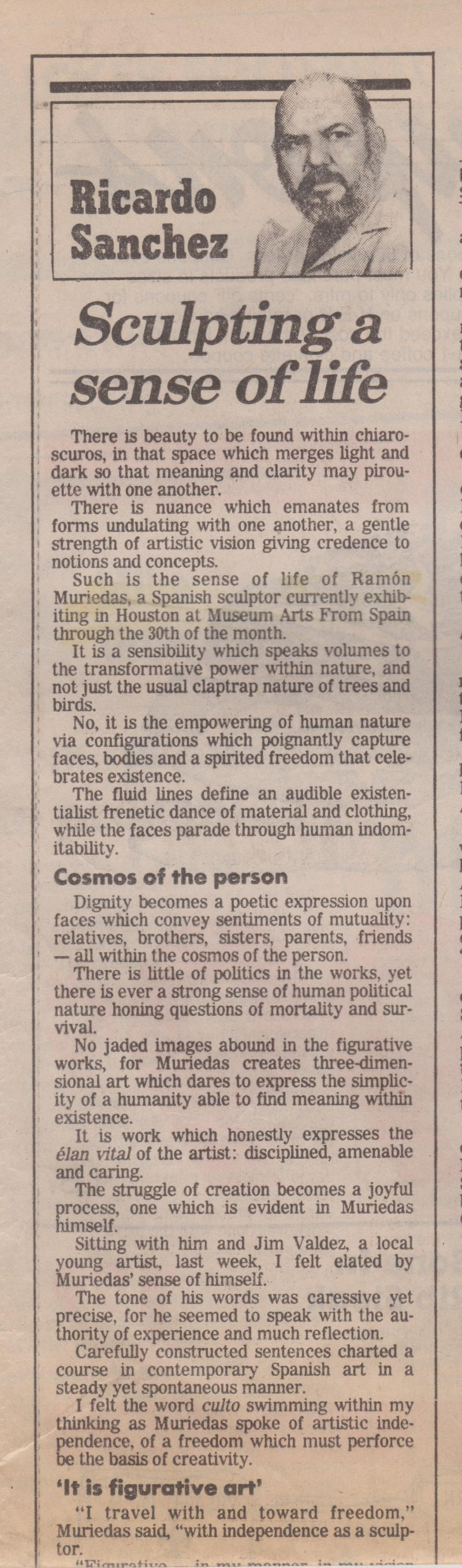 "THE SUNDAY EXPRESS NEWS. "" Sculpting a sense of life"""